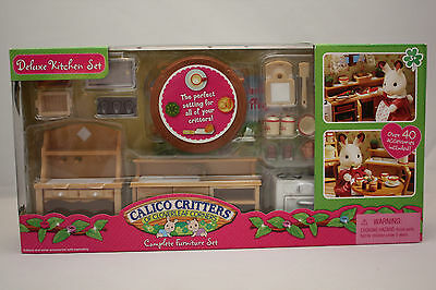 Calico Critters Doll House Deluxe Kitchen Set Furniture Over 40 Accessories New