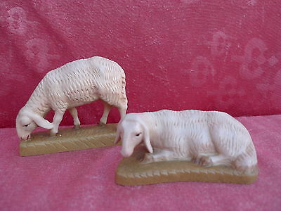 2 beautiful Wooden figures_Nativity Figurines__2 Sheep __Tyrol_carved and