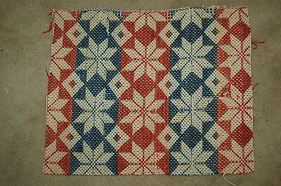Red Blue Star Woven Coverlet Repurpose  Piece