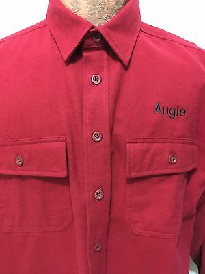 LL Bean Mens L Red Chamois Cotton Long-Sleeve Shirt Augie Embroidered on Chest