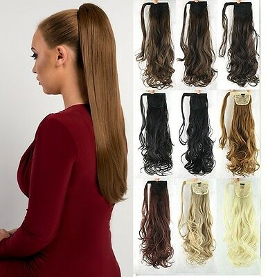 UK Mega Thick Clip In as Human Ponytail Hair Extensions Straight Curly Pony Tail