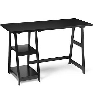 Small Black Trestle Writing and Computer Desk