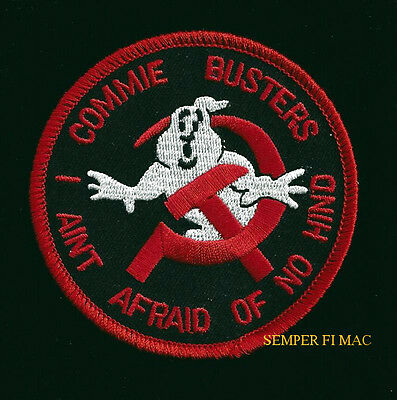 Commie Busters I Ain't Of No Hind Soviet Patch Ghost Busters Helicopter Pin Up