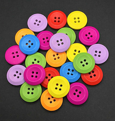 50pcs Large Mixed Round Wooden Buttons 25mm 4 Holes Sewing Crafts Daily Goods
