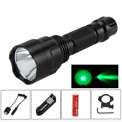 5000Lm Q5 Green LED Tactical Flashlight Torch Light 18650 Lamp Pressure Switch