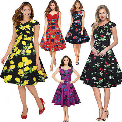 UK8-20 Women Vintage Lemon Print Dress 50s Rockabilly Cocktail Party Swing Dress