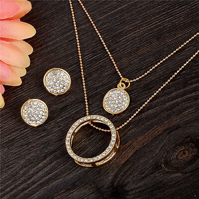18k Gold Plated Austrian Crystal Stud Earrings Necklace Lady Wedding Jewelry Set