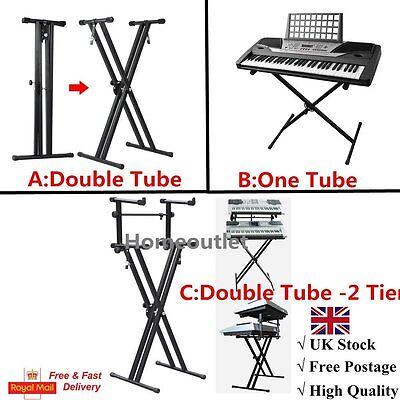 Pro Adjustable 2-Tier X Style Dual Keyboard Stand Electronic Piano Double New UK
