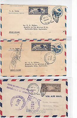 FAM F8-5 9/1/1929 Brownsville, Texas - Guatemala City First Flight 3 Covers !!