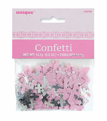 Pink Cross Shape Table Confetti Christening Confirmation Table Decorations