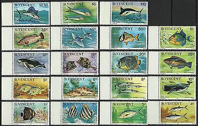 St Vincent Poissons Baleine Marlin Fishes Whale Wal Fische ** 1975 Signe Signed