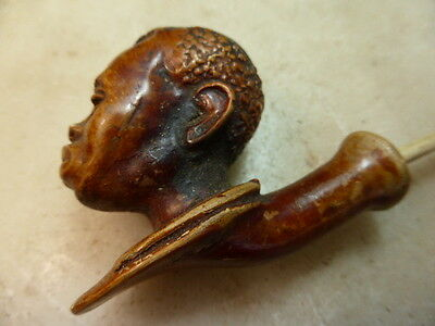 Antique wooden carved boys head pipe  - missing mouthpiece