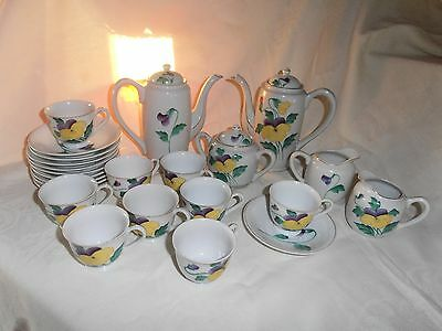 24 Piece Hand Painted~Japan~Demitasse Coffee/tea Set W/2 Pots~Marked~V/g/cond.