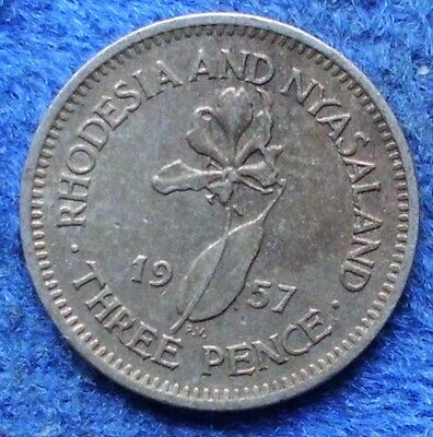 RHODESIA & NYASALAND - 3 pence 1957 KM# 3 Elizabeth II 1952-63 - Edelweiss Coins