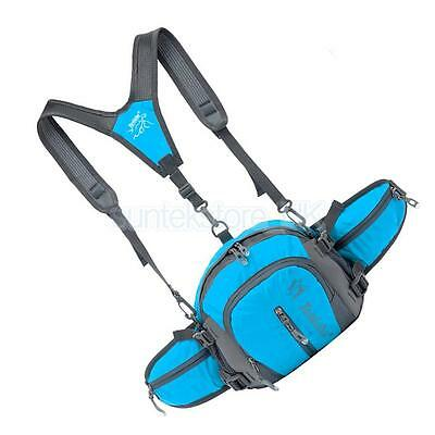 Multi-function Outdoor Sports Backpack Fanny Waist Pack Hip Bum Bag Blue