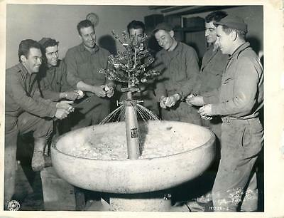 WWII U.S. 26th Infantry Troops Peel Potatoes Around Christmas Tree in Metz Photo