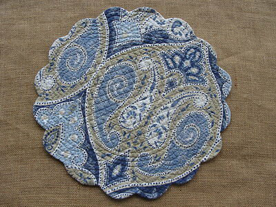 NAZIMA Quilted Reversible Round Placemat by C & F - Navy, Taupe, Blues, White