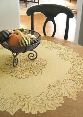 """Heritage Lace GOLDENROD LEAF 36"""" Round Fall Table Topper"""