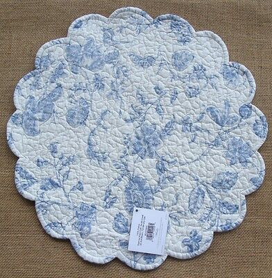 BRIGHTON BLUE Quilted Reversible Round Placemat by C&F - Floral, Ticking