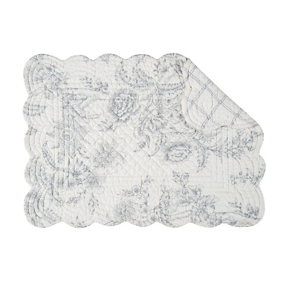 CLEMENTINA CEMENT Quilted Reversible Placemat by C&F - Off-White, Gray Floral