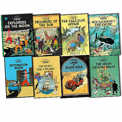 Herge The Adventures of Tintin 8 Books Collection Pack Set New