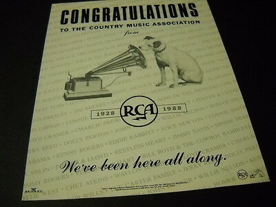 NIPPER The RCA Dog congrats to the Country Music Association 1988 PROMO AD mint