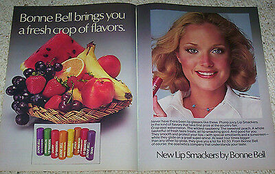 1975 vintage ad - Bonne Bell fruit Lip Smackers Cute GIRL 2-PAGE ADVERT Clipping