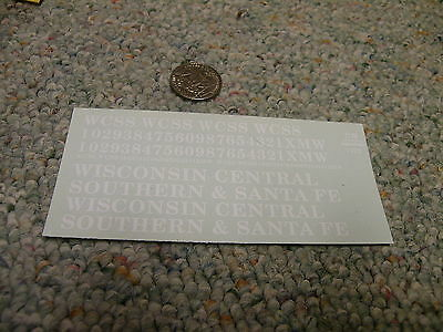 Herald King decals S Wisconsin Central Southern and Santa Fe WCSS white XX362
