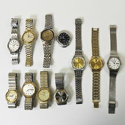 Lot of 11 Seiko Wrist Watches Stainless Steel - for Parts, Repair