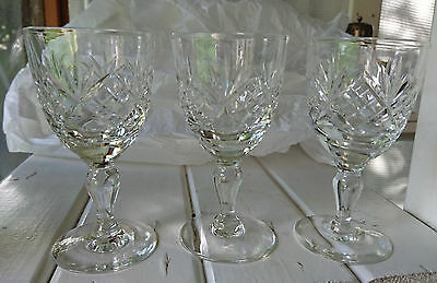 "VINTAGE 3 x 1920S RICHARDSON CRYSTAL PORT or SHERRY GLASSES - 4.25"" Tall"