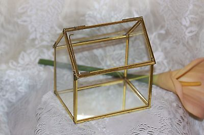 Vintage Brass And Glass Small Trinket Terrarium House