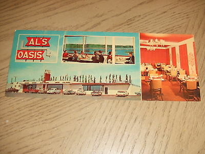 VINTAGE 1960s Al's Oasis Tourist Diner Chamberlain South Dakota Long Postcard SD