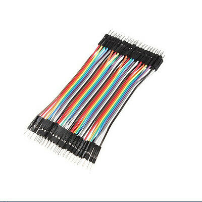 40pcs Dupont 10CM Male To Male Jumper Wire Ribbon Cable Breadboard For ArduinoEF
