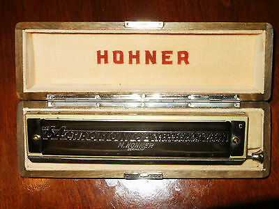 Hohner Harmonica 64 Professional Chromonica - Made in Germany Wood Locking Case