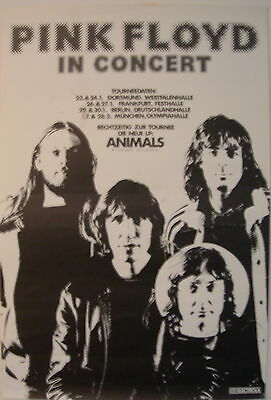 Pink Floyd Concert Tour Poster 1977 Animals Very Rare Concert Poster