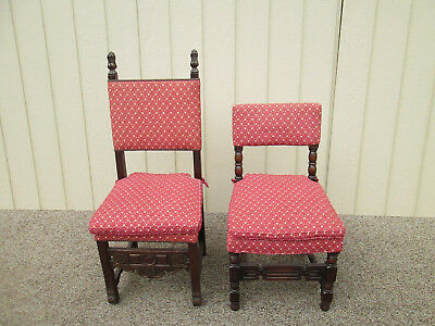 54337  Set 6 Antique Walnut Carved Jacobean Dining Chairs Side Chair s w Cushion
