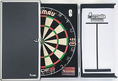 Winmau Blade 5 FIVE Dart Board & Aluminium Alloy Black Cabinet + Darts SET