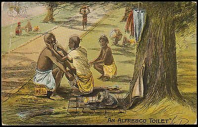 India Calcutta Alfresco Toilet View Card Perfin Stamp To Germany