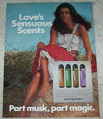 1975 ad page - Love's Cosmetics Sensuous musk CUTE GIRL advertising ADVERT PAGE