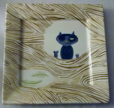 HTF Jessica Hartland Fish Eddy Cat with black eye & kittens square plate tray