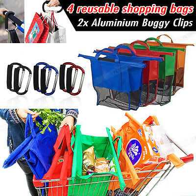 Set of 4 Bags Grocery Cart Trolley Shopping Carrier Bag+Free Buggy Clips HOOK X2