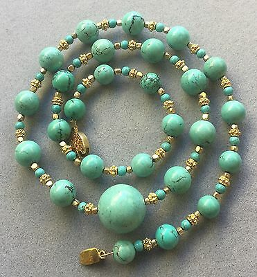 Vintage Antique Chinese Turquoise Beads Necklace SILVER CLASP