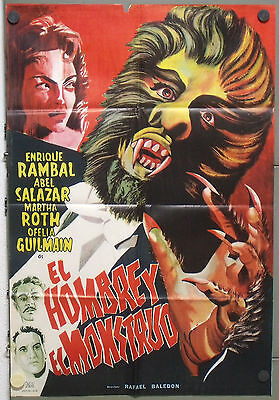 QB00d THE MAN AND THE MONSTER ABEL SALAZAR MEXICAN orig 1sh POSTER SPAIN