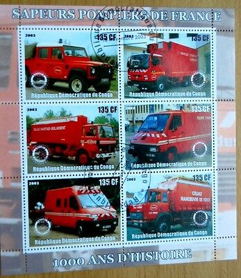 100 Years France Fire Trucks Engines Congo Republic 2003 Stamp Sheet VFU #