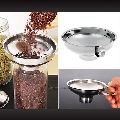 Stainless Steel Wide Mouth Canning Cup Funnel Handle Hopper Filter Kitchen Tools