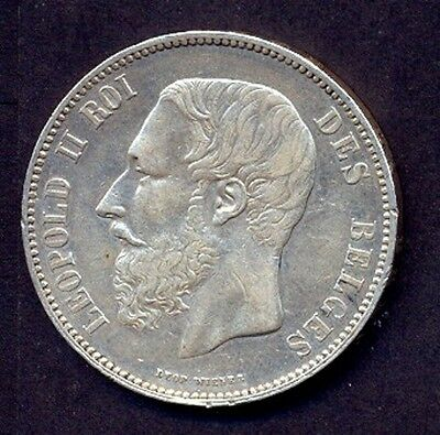 "Belgium Silver Coin 5 Francs  "" King Leopold Ii"" 1867 Year  , Xf+++++"
