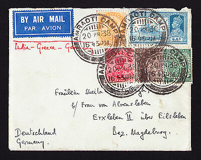 KGV & KGVI Indian stamps on 1938 Air Mail cover from Amraoti Camp India Airmail