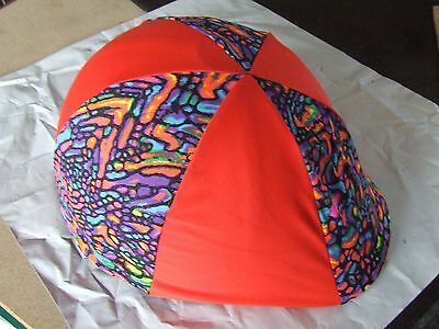 Ecotak lycra helmet cover - red patterned - NO PEAK POCKET