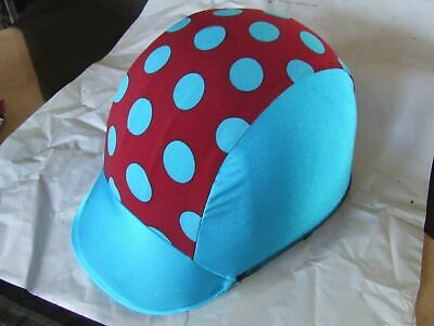 Ecotak lycra helmet cover - aqua and burgandy polka dots  Ecotak