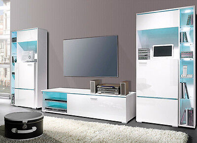 wohnwand anbauwand 3 teilig mit vitrinen wei hochglanz neu 895223 eur 329 00 picclick de. Black Bedroom Furniture Sets. Home Design Ideas